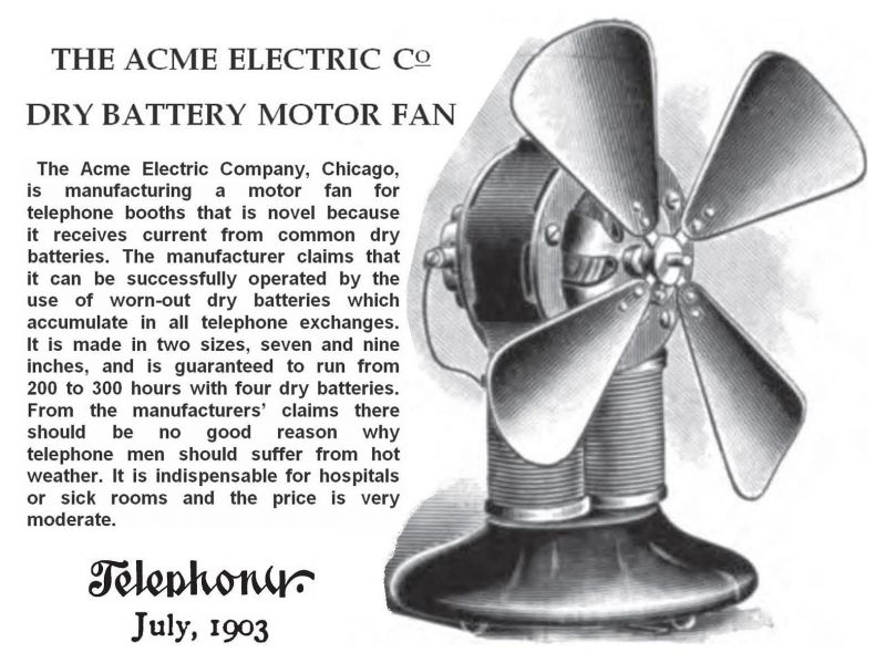 Acme Electric Co Dry Battery Motor Fan 1903 Pre 1950