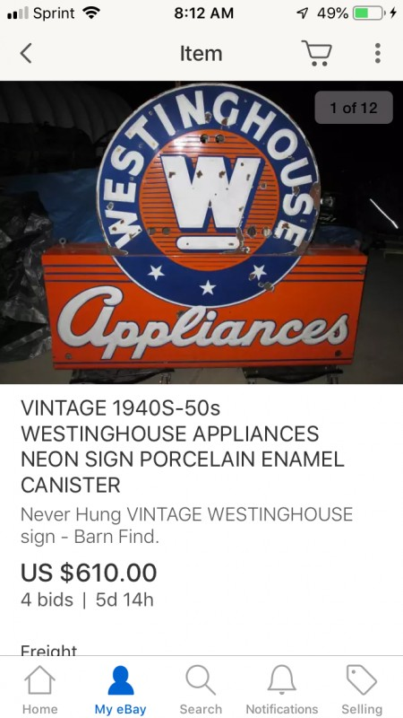 Westinghouse Sign On Ebay Buy Sell Trade Antique Fan Collectors Association Afca Forums