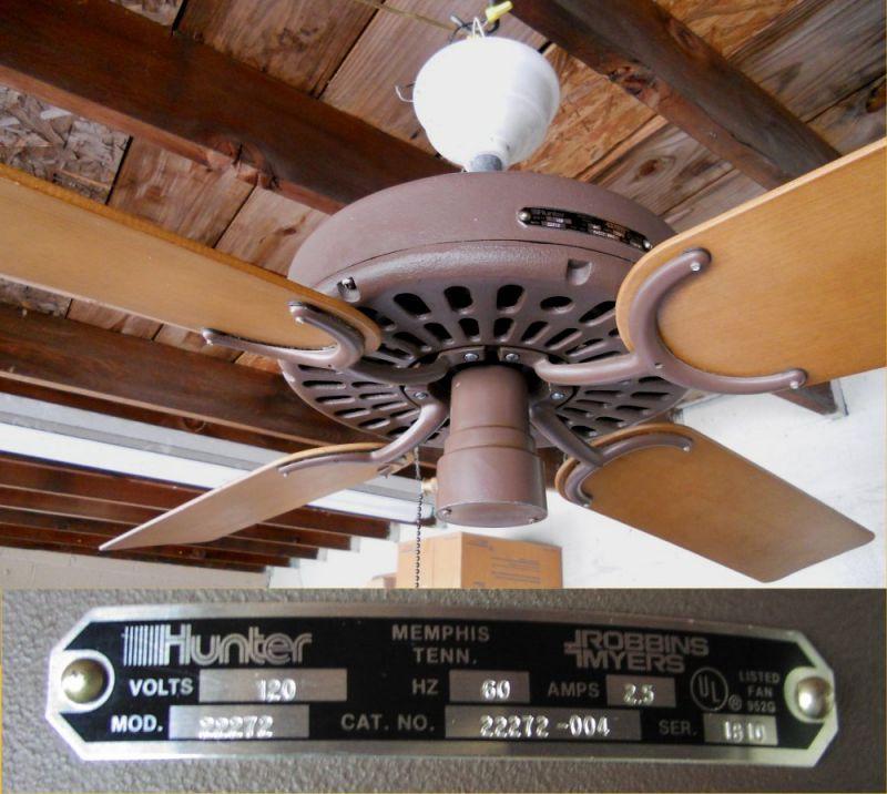 1981 Hunter 22272 Ceiling Fan Post 1950 Vintage Antique Fan Collectors Association Afca